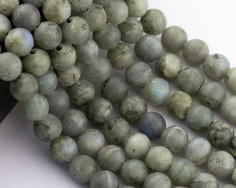 2.0mm Large Hole Matte Labradorite Round 10mm/8mm Semi-Precious Gemstone Loose Beads Approximate 15.5 Inch.R-M-L-LAB-0170