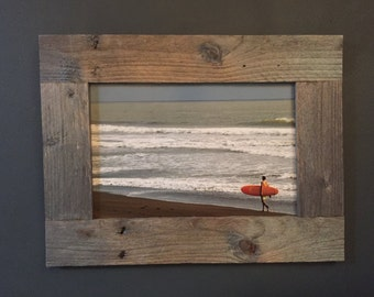 Costa Rica Surfer in Custom Reclaimed Pallet Wood Frame // Boyfriend gift // Fathers Day gift // Surf // Picture Frame
