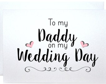 To my daddy on my wedding day wedding thank you card father of the bride groom gift note to parents