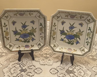 Andrea by Sadek Vintage hand painted decorative pair of wall plates Japan circa 1950 original lables