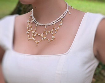 Bridal, wedding necklace, Swarovski crystal, antique crystal and oplaine beads, victorian style