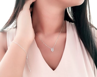 Dainty Three Triangle Necklace / Delicate Necklace / Handmade/ Good Gift Idea for Bridesmaid, Birthday and all Meaningful Days