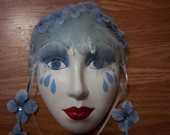 Ceramic mask hand painted beautifuly in blue and white