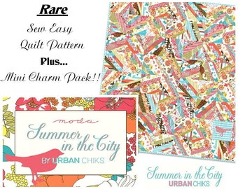 Summer In The City Charm Pack + Quilt Pattern / Quilt Squares Rare Moda Fabric by Urban Chiks