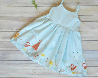 Blue woodland forest animals dress - foxes bears hedgehogs - knee length with straps and elastic back - birthday dress