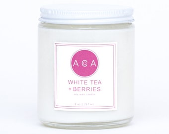 Soy Wax Candle-All Natural Candle-100% Soy Wax Candle-Hand Poured Candle-Eco Friendly Candle-Soy Candles-White Tea Berries Soy Wax Candle