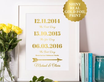 Wedding Date Sign, Gold Foil Special Dates, Wedding Gift 8x10 5x7 4x6