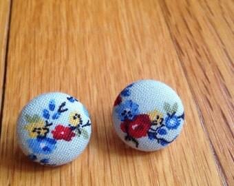 Mint Floral Button Earrings