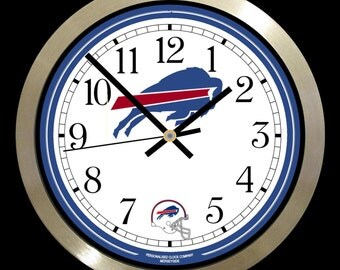 """NFL AMERICAN FOOTBALL large 10"""" wall clock The Bills, Dolphins, Patriots, Jets Any team available"""