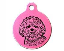 Bichon Frise Dog Personalised Laser Engraved Pet Dog ID Tag 31mm Round & Free Slip Ring <TAG_ANO_CIRC_L_BICHON>