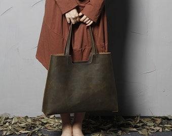 A Women's Handmade Top Grain Leather Tote Bag Shoulder Bag Shopping Bag