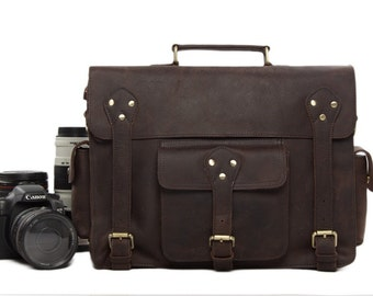 SALE Handmade Vintage Genuine Leather DSLR Camera Bag SLR Camera Bag Leather Camera  Bag
