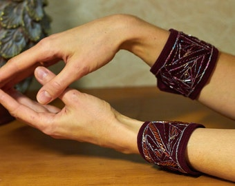 "Embroidered Bracelets ""Dark Red Paradox"""