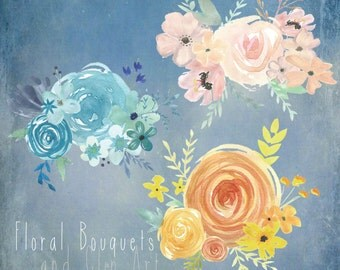 Water Colour Floral Bouquets AND Clip Art