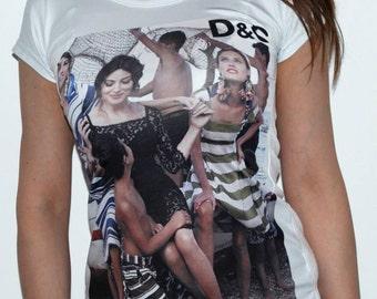 "model # 101 women's white top t-shirt ""tattoo"",sizes-S,M"