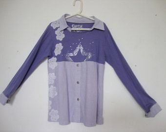 girls refashioned, upcycled shirt, age 8-10 years, with white, lace accents on the side
