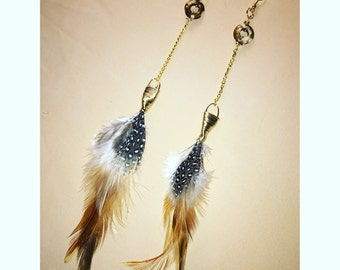 Handmade feather earrings