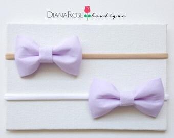 Mini Baby Hair Bow headband. Lavender bow headband.