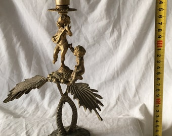 Two boys on wings Candle holder playing music – Antique masterpiece