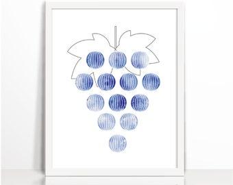 Kitchen print, grapes, fruitd, kitchen decor, Nursery Wall , Nursery print, Scandinavian nursery art, nursery art, Print for kids room, Newb