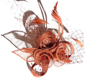 Copper Red Classic Flower Fascinator Clip and Brooch