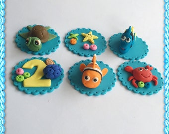 Set of 12 Nemo and Dory Cupcake toppers