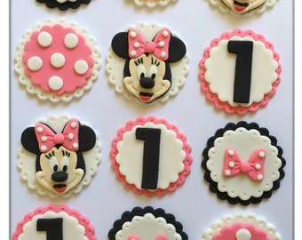Set of 12 or 24 Minnie Mouse Cupcake Toppers