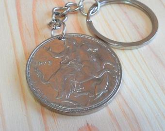 Greece Coin keychain, Greece 20 Drachma coin key chain, Greece moon goddess coin key ring