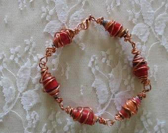 Copper Wire Wrap Bracelet Upcycled Beads