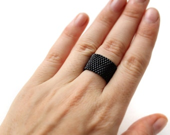 Wide black band ring Black minimalist ring Black goth ring Black seed bead jewelry Simple modern band ring Everyday wear ring Peyote ring