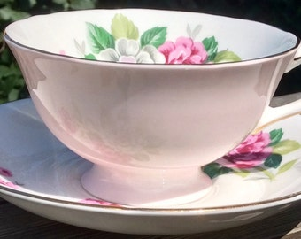 Pretty in Pink-Almost Perfect Royal Grafton Pedestal Teacup and Saucer