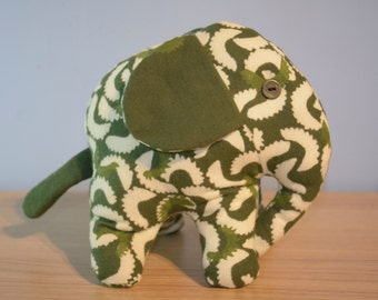 Green, Screen Printed, Soft Toy Elephant