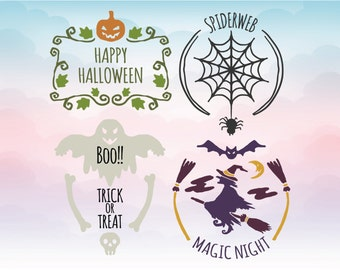Halloween SVG files - DIY vinyl cutting machine files for silhouette and cricut, Halloween clipart Svg Eps Dxf Png Pdf