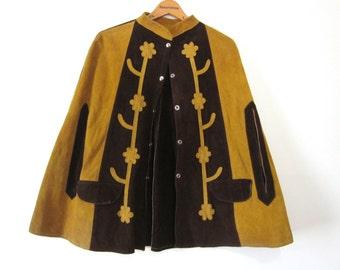 Vintage Suede Leather Cape Hippie 60s 70s Boho Applique Snaps Boho Bohemian Mod Poncho Womens Small