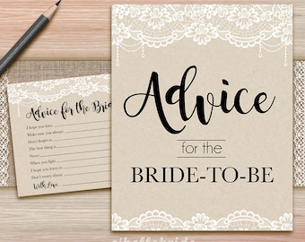 Advice for the Bride to Be Bridal Shower - Printable Rustic Burlap Lace Bridal Shower Advice Cards and Sign - Advice for Newlyweds 016