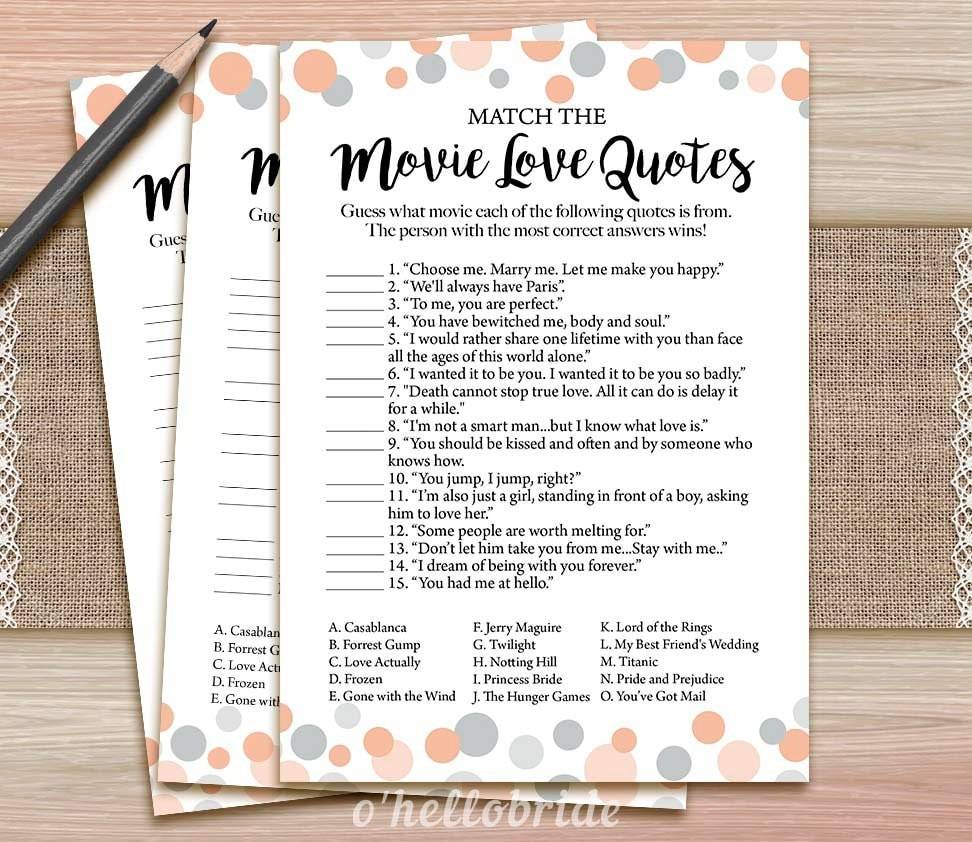Movie Love Quote Match Game Printable Coral Bridal Shower