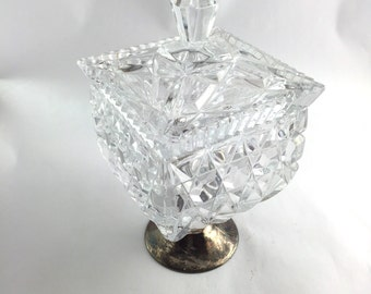 Crystal Silver Pedestal Lidded Square Compote Container Candy Bowl