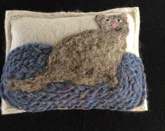 Needle Felted Cat Balsam Pine Sachet