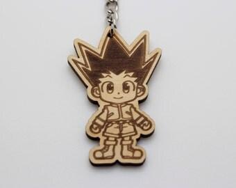 Hunter x hunter gon 5cm (high) cute chibi anime cartoon handmade wooden key ring key chain keychain 079