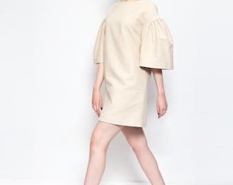 KÜPPER'S soft suede flare sleeves beige dress