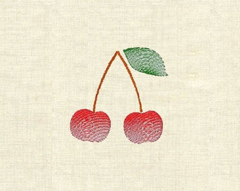 Machine embroidery fruit cherries