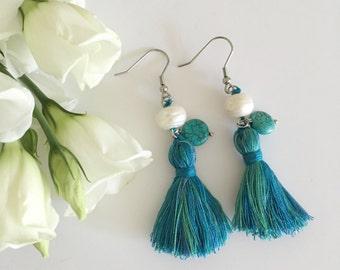 Turquoise and pearl boho tassel earrings