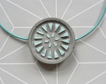 Concrete necklace leather fragment