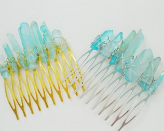 Goddess Hair Comb - Aquamarine Aura