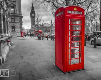 Red Telephone Box,Big Ben,London,download,digital,booth,iconic,print,parliament square,photography,black and white,high resolution,fine art