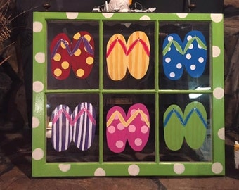 Flipflop Hand Painted Window