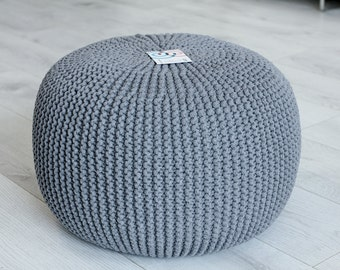 Beautiful knitted pouf, ,ottoman,footstool,decor&housewares,floor pillow,seat, home interior,living room,knitting pouf,crochet pouf