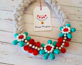 Flower turquoise and Coral necklace