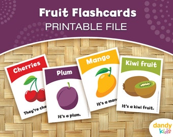 Fruit Flashcards / Printable Flashcards / Set of 12 / Educational Flashcards