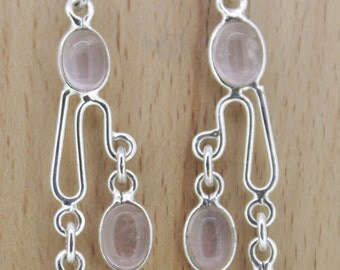 92.5 Sterling Silver Earrings - Rose Quartz